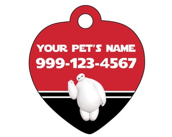 Disney Baymax Pet Id Tag for Dogs & Cats Personalized w/ Your Pet's Name and Number