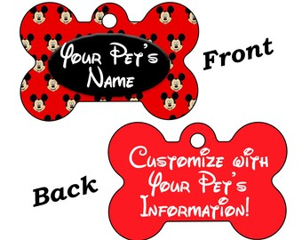 Disney Mickey Mouse Double Sided Pet Id Dog Tag Personalized for your Pet