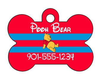Disney Winnie the Pooh Custom Pet Id Dog Tag Personalized w/ Your Pet's Name & Number
