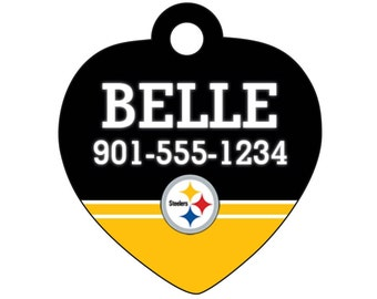 Pittsburgh Steelers Pet Id Tag for Dogs and Cats Personalized w/ Your Pet's Name & Number