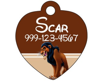 Disney Scar Custom Pet Id Tag for Dogs & Cats Personalized w/ Your Pets Name and Number