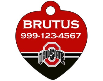 Ohio State Buckeyes Custom Pet Id Tag for Dogs and Cats Personalized w/ Name & Number