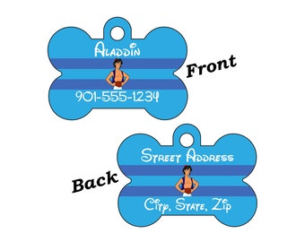 Disney Aladdin 2-SIDED Pet Id Tag for Dogs and Cats Personalized for your Pet