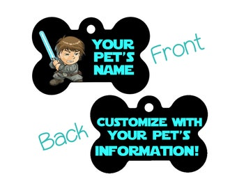 Disney Star Wars Luke Skywalker Double Sided Pet Id Dog Tag Personalized for your Pet