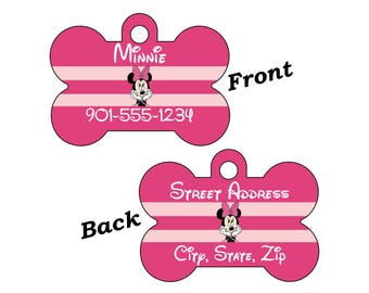 Disney Minnie Mouse Double Sided Pet Id Dog Tag Personalized w/ 4 Lines of Text