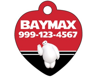 Disney Baymax Custom Pet Id Tag for Dogs & Cats Personalized w/ Your Pet's Name and Number