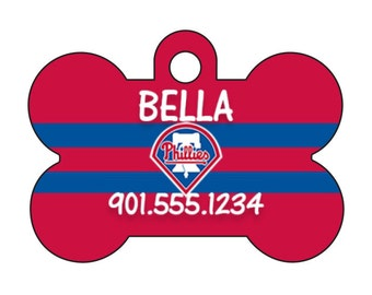 Philadelphia Phillies Pet Id Dog Tag Personalized w/ Your Pet's Name and Number