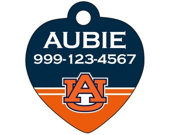 Auburn Tigers Custom Pet Id Tag for Dogs and Cats Personalized w/ Name & Number