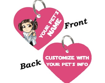 Disney Star Wars Princess Leia Double Sided Pet Id Tag for Dogs & Cats Personalized for Your Pet