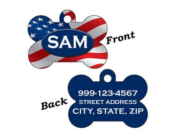 USA Flag Patriotic Double Sided Pet Id Dog Tag Personalized w/ 4 Lines of Text