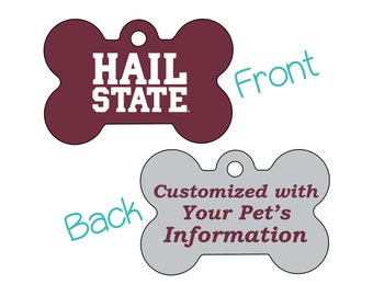 Mississippi State Bulldogs 2-Sided Pet Id Dog Tag | Officially Licensed | Personalized for Your Pet