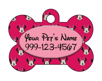 Disney Minnie Mouse Pet Id Dog Tag Personalized w/ Your Pet's Name & Number