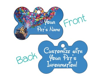 Disney Up Balloons Pet Id Dog Tag Personalized w/ Your Pet's Name & Number