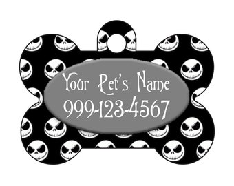 Jack Skellington Nightmare Before Christmas Pet Id Dog Tag Personalized w/ Your Pet's Name and Number