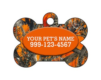 Fashionable Cute Orange Realtree Outdoor Camo Pet Id Dog Tag Personalized for Your Pet