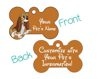 Disney Fox and the Hound Copper Pet Id Dog Tag Personalized w/ Your Pet's Name & Number