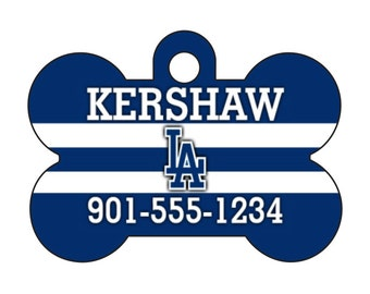 Los Angeles Dodgers Pet Id Dog Tag Personalized w/ Your Pet's Name and Number