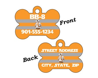 Disney Star Wars BB8 Double Sided Pet Id Dog Tag Personalized for your Pet