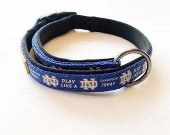 Notre Dame Fighting Irish Custom Adjustable Nylon Dog Collar