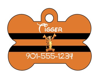 Disney Tigger Winnie the Pooh Pet Id Dog Tag Personalized w/ Name & Number