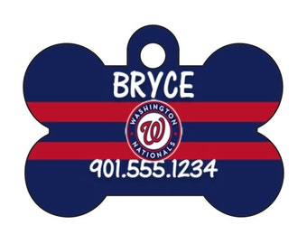 Washington Nationals Personalized Dog Tag Pet Id Tag w/ Your Pet's Name and Number