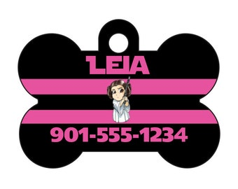 Disney Star Wars Princess Leia Pet Id Dog Tag Personalized w/ Your Pet's Name and Number