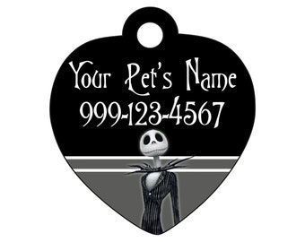 Jack Skellington Pet Id Tag for Dogs and Cats Personalized w/ Name & Number