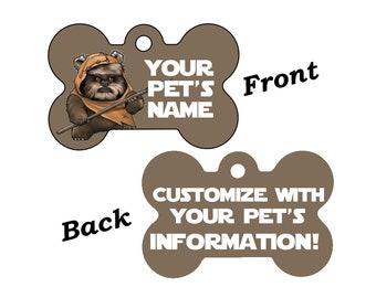 Disney Star Wars Ewok Double Sided Pet Id Dog Tag Personalized for your Pet