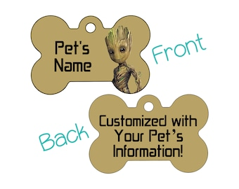 Baby Groot | Disney Guardians of the Galaxy Double Sided Pet Id Dog Tag | Personalized for Your Pet