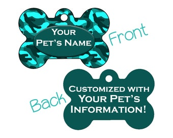 Camo Double Sided Pet Id Dog Tag | Turquoise | Personalized for your Pet!