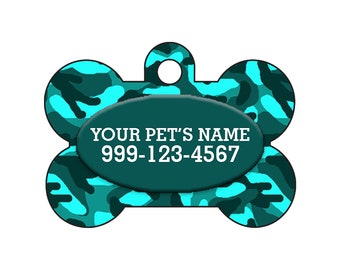 Fashionable Cute Teal Blue Camo Pet Id Dog Tag Personalized for Your Pet