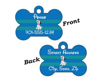 Disney 101 Dalmations Double Sided Pet Id Dog Tag Personalized for your Pet