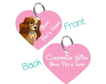 Disney Lady and the Tramp Pet Id Tag for Dogs & Cats Personalized for Your Pet