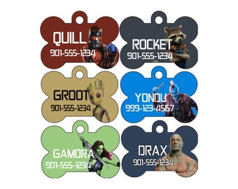 Disney Guardians of the Galaxy Pet Id Dog Tags Personalized w/ Your Pet's Name and Number