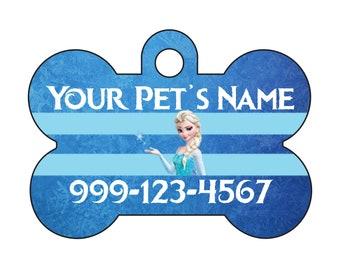 Disney Princess Elsa Frozen Pet Id Dog Tag Personalized w/ Name & Number