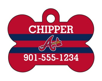 Atlanta Braves Custom Pet Id Dog Tag Personalized w/ Your Pet's Name and Number