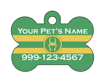 Loki Pet Id Dog Tag Personalized w/ Your Pets Name and Number