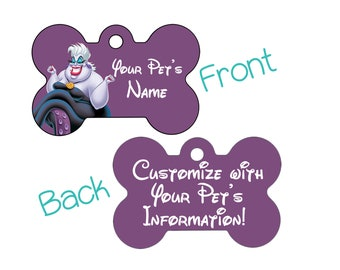 Disney Little Mermaid Ursula Double Sided Pet Id Dog Tag Personalized for Your Pet