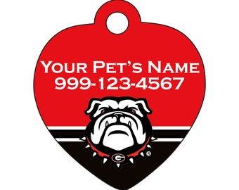 Georgia Bulldogs   Officially Licensed   Pet Id Tag for Dogs and Cats   Personalized for Your Pet