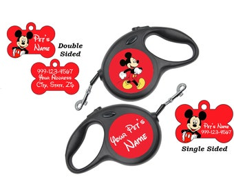 Disney Mickey Mouse Pet Id Dog Tags & Retractable Leash Personalized for Your Pet