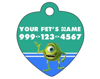 Disney Monsters Inc Mike Wazowski Pet Id Tag for Dogs & Cats Personalized w/ Your Pet's Name and Number
