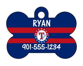 Texas Rangers Personalized Dog Tag Pet Id Tag w/ Your Pet's Name and Number