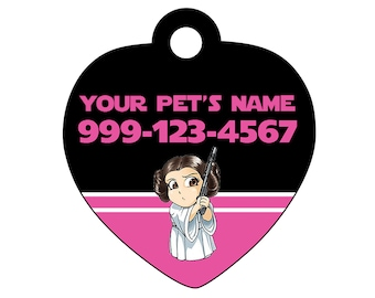 Star Wars Princess Leia Pet Id Tag for Dogs and Cats Personalized w/ Name & Number