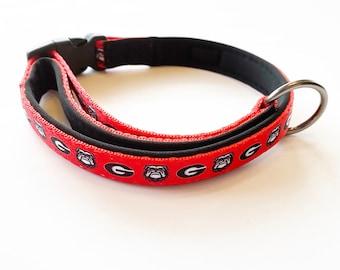 Georgia Bulldogs Custom Adjustable Nylon Dog Collar