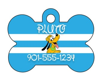 Disney Pluto Custom Pet Id Dog Tag Personalized w/ Your Pet's Name & Number
