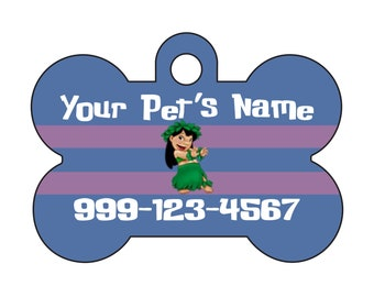 Disney Lilo and Stitch Custom Pet Id Dog Tag Personalized w/ Your Pet's Name & Number