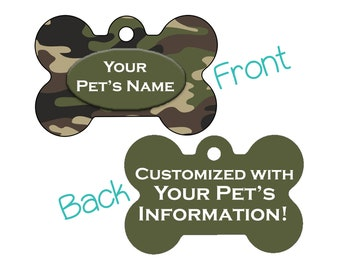 Double Sided Camo Pet Id Dog Tag | Army Green | Personalized for your Pet!
