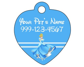 Disney Cinderella Pet Id Tag for Dogs and Cats Personalized w/ Name & Number