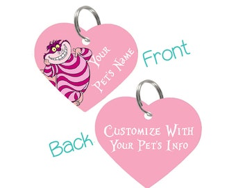 Disney Cheshire Cat Pet Id Tag for Dogs and Cats Personalized w/ Your Pet's Name & Number