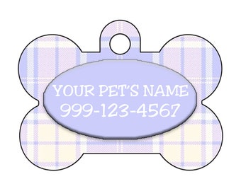 Plaid Easter/Spring Themed Custom Pet Id Dog Tag Personalized w/ Your Pet's Name & Number